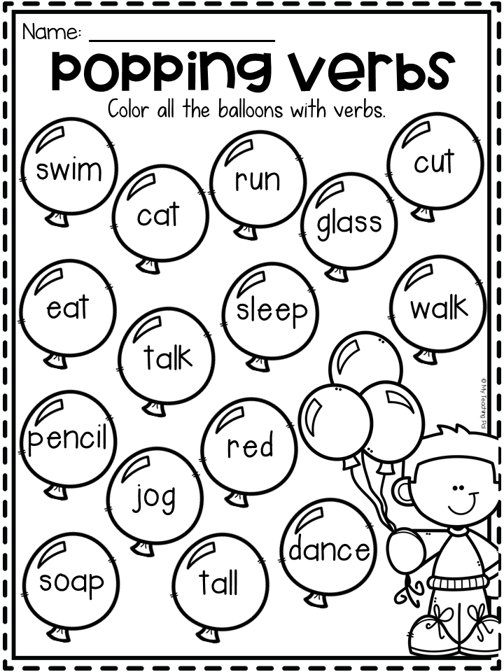 Grammar Worksheet Packet Nouns, Adjectives And Verbs Worksheets Verb  Activities For First Grade, Verb Worksheets, Teaching Verbs
