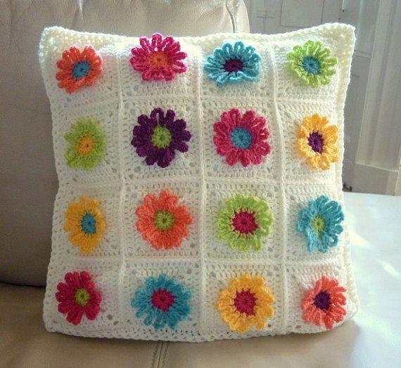 Daisy Chain Pillow Crochet Pattern Crochet Daisy Crochet Pillow Crochet Patterns