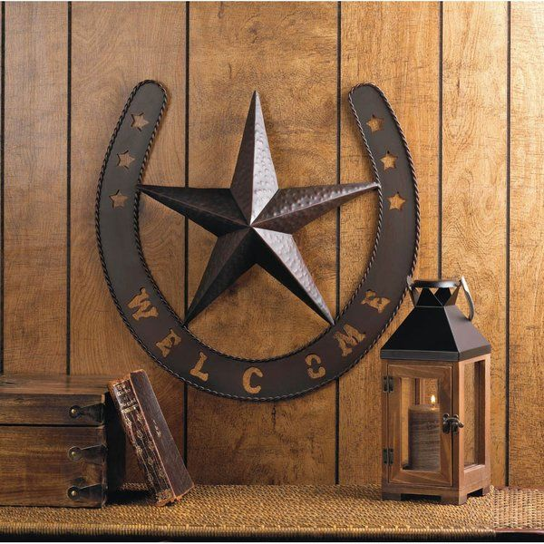 Rustic Texas Lone Star Welcome Metal Horse Shoe Wall Art Plaque Decor