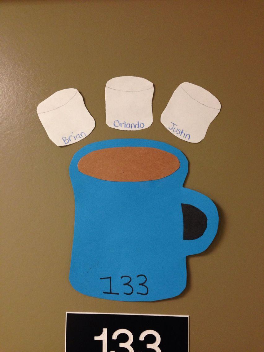 Cute Mugs I Made For Winter Door Decs Ra Stuff Dorm Door Ra