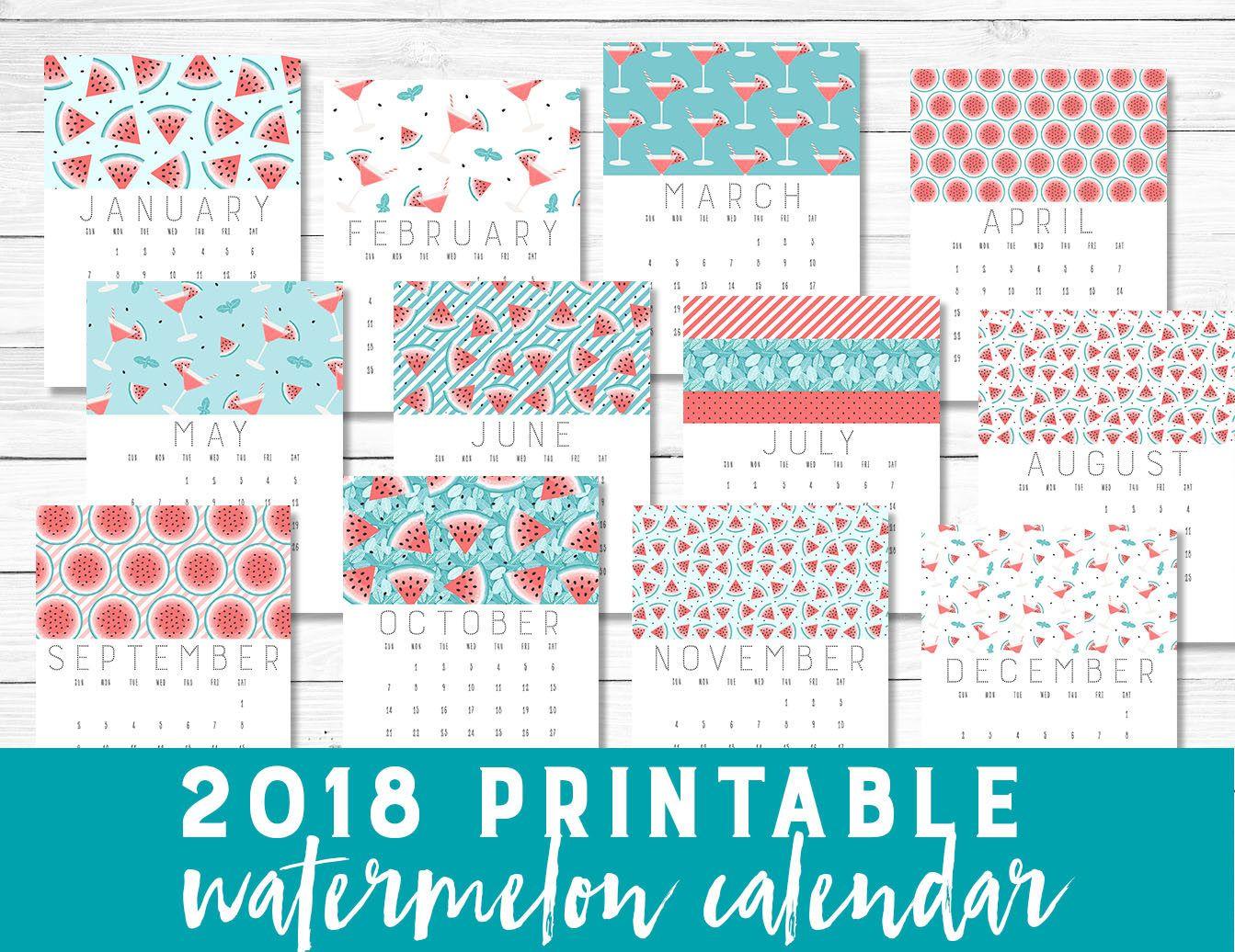 Printable 2018 Calendar Watermelon Pastel Teal Coral Calendar