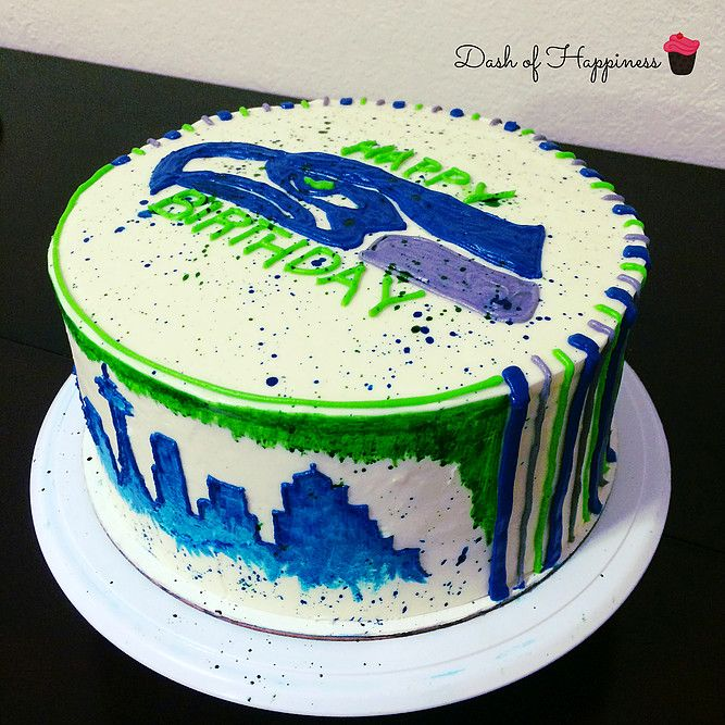 Awesome Dash Of Happiness Seahawks Cake In 2020 Cupcake Cakes Cake Funny Birthday Cards Online Chimdamsfinfo
