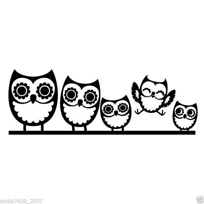 Owl Family Window Decals For Cars