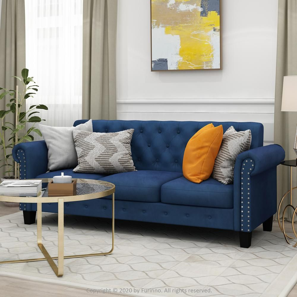 Furinno Bastia 68 9 In Navy Velvet 3 Seater Chesterfield Sofa With Round Arms Fs193312vnv The Home Depot In 2020 Blue Couch Living Room Modern Sofa Living Room Blue And Mustard Living Room