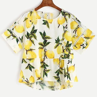 6421ae04e8471 Fashion Women Lemon Printed Casual Blouse Tops Irregular Short Sleeve T  Shirt