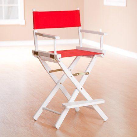 Outstanding 24 Inch Directors Chair Honey Oak Frame Red Canvas Beige Beatyapartments Chair Design Images Beatyapartmentscom