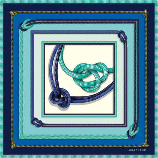 LONGCHAMP - Carré de soie, Accessoires, Bleu (Ref. 6573SOI)   Carrés ... 530a77d92e1