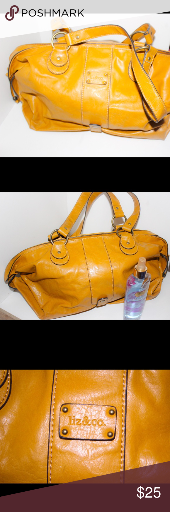 Gold yellowish Large Handbag This is a goldish yellow large handbag by Liz & Co. this purse is very stylish. No rips. There is a light mark inside of the purse but not to noticeable. Still a nice bag. All reasonable offers accepted. Liz Claiborne Bags Totes