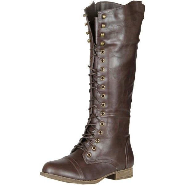 c6de9392dcd Refresh Libby-05 Women's Lace Up Knee High Combat Riding Boots ($45 ...