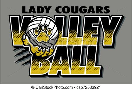 Lady Cougars Volleyball Vector Stock Illustration Royalty Free Illustrations Stock Clip Art Icon Stock Clipart Icons Logo Art Icon Paw Print Vector Art