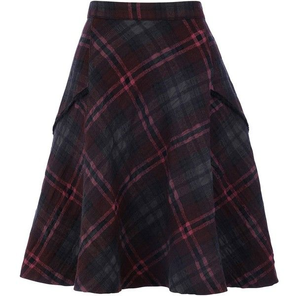 Tweed Skater Skirt ($245) ❤ liked on Polyvore featuring skirts, purple a line skirt, a-line skirts, plaid skater skirt, tartan skater skirt and tweed a line skirt