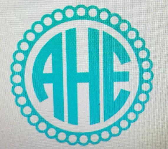 Scalloped Circle Monogram Car DecalMonogram GiftMonogram Car - Circle monogram car decal