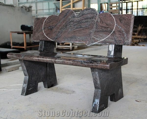 Tremendous Paradiso Granite Double Hearts Monument Cemetery Bench Ibusinesslaw Wood Chair Design Ideas Ibusinesslaworg