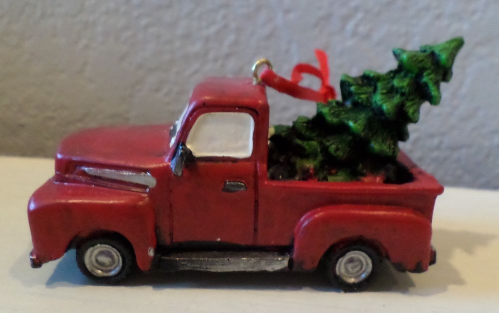 Old Red Truck With Christmas Tree In Back.Vintage Style Red Truck Christmas Tree In Back Ornament
