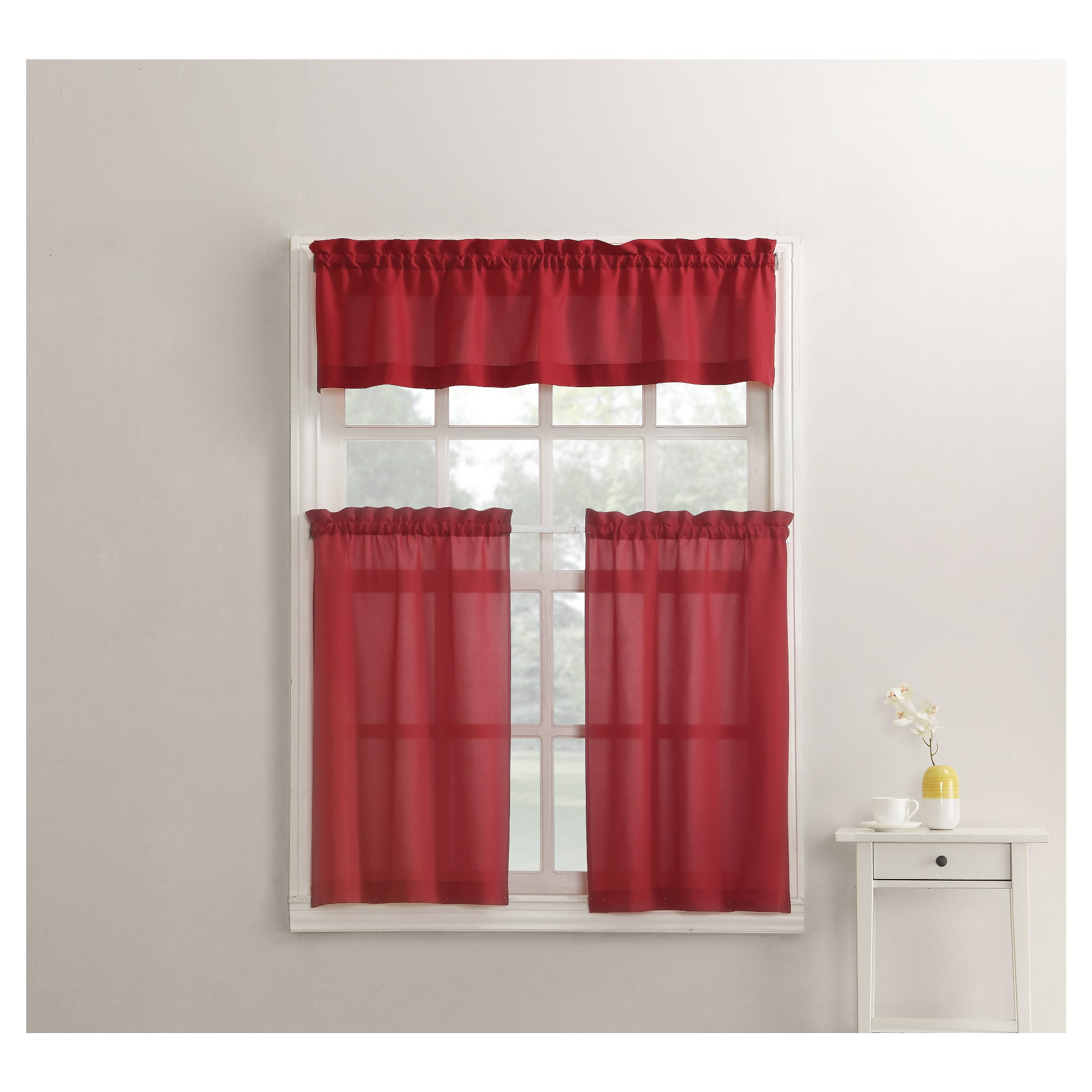 martine microfiber 3-piece kitchen curtain valance and tiers set red