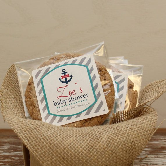 24 Personalized Cellophane Cookie Bags Candy Nautical Label Any Color Baby Shower Favor Bag On Etsy 18 00
