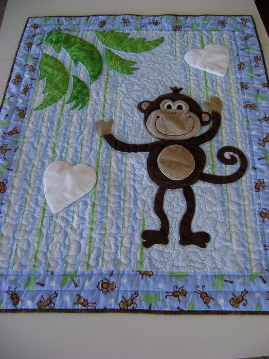 Monkey Quilt For Baby Toddler Child With Appliqued
