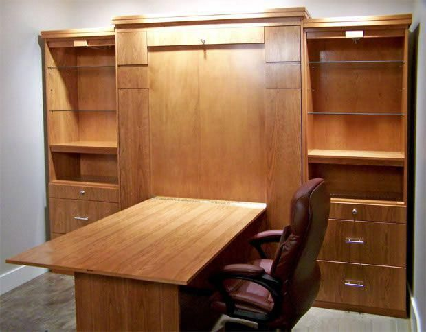 Merveilleux Murphy Bed With Fold Down Sewing Table Underneath. Storage On Each Side For  Sewing Machines And Swing Arm Monitors. Cabinets To Ceiling For Linens And  ...