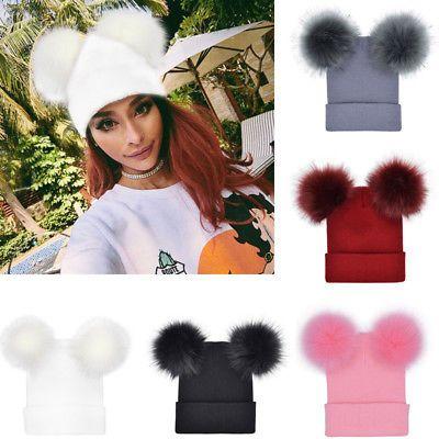 Women Fur Pom Pom Ball Crochet Baggy Bobble Hat Beanie Beret Ski Cap Winter  Warm 1d04e1a15477