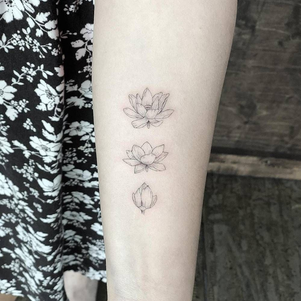 Blooming lotus flower tattoo on the left inner forearm. Finger Tattoo – Top Fashion Tattoos