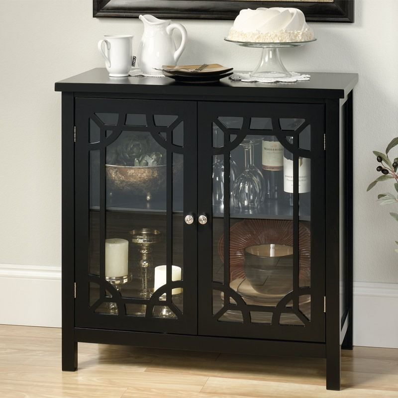 Rox Black Accent Cabinet With 2 Geometric Design Glass Doors