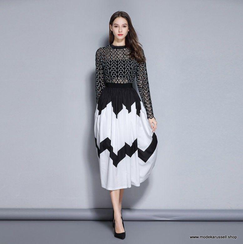 Elegantes Kleid Sommerkleid 2019 Wadenlang in Schwarz Weiß ...