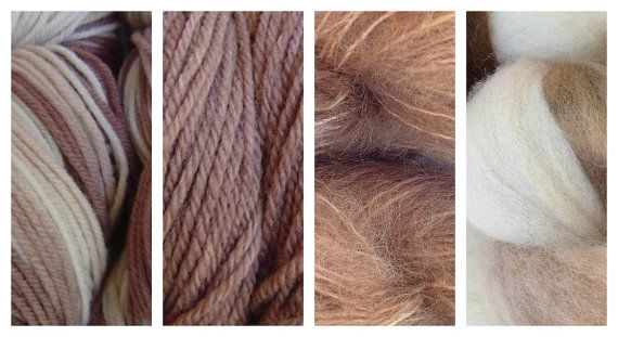 Hand Dyed Samples of Merino Wool DK Sport Weight Yarn in Rootbeer Float White Brown
