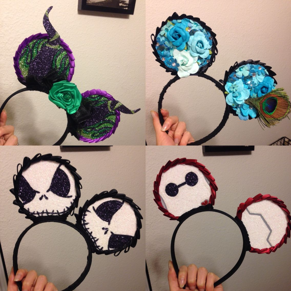 Custom Mickey ears! Will be available within the week on etsy!! Finalizing some things but in the meantime follow me on Instagram for the time being! Updates will be released via Instagram!    #disney #mickeyears #custom #handpainted #instagram #disneyland #etsy #comingsoon #thenightmarebeforechristmas #baymax #bighero6 #maleficent #peacock #blue #glitter #handmade