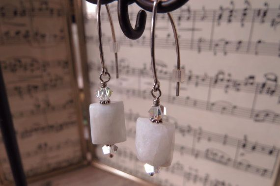 Sterling silver earrings made with snowy by CreativeWorkStudios