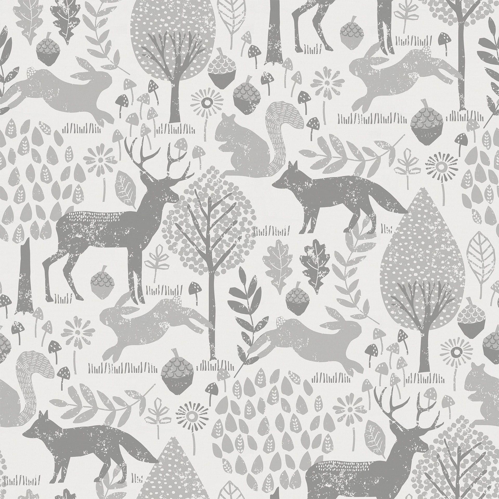 Gray Woodland Animals Fabric By The Yard