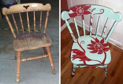 Aqui hay una gran idea para la cocina, si tienes una silla que se ha deteriorado puedes pintarla e instalar un vinilo Natural!