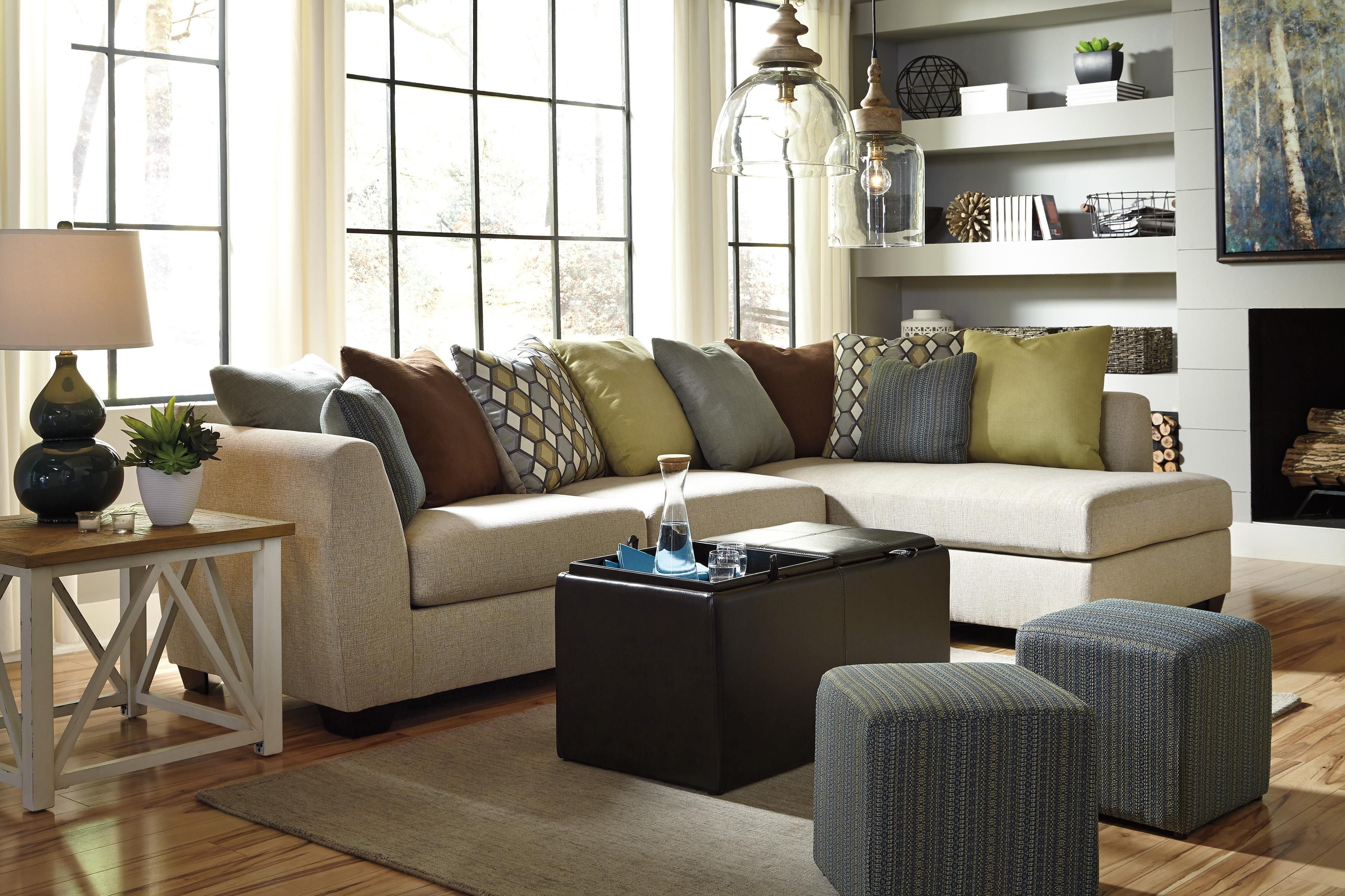 Casheral Linen RAF Sectional By Ashley   Delivered Directly To Your Home  With No Shipping Charges From Coleman Furniture.