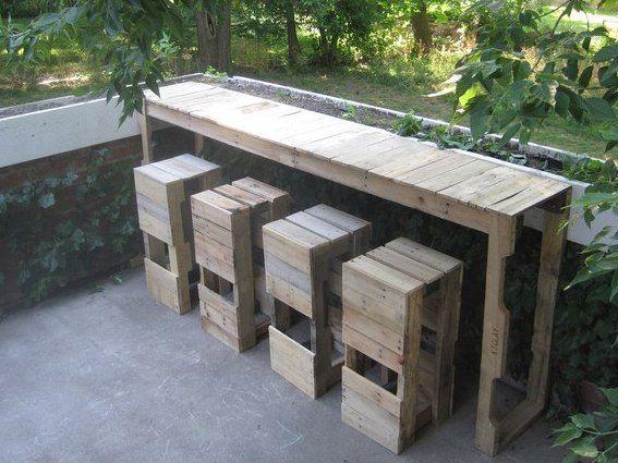 coole diy gartenmöbel aus europaletten_gartenbar selber bauen, Garten Ideen
