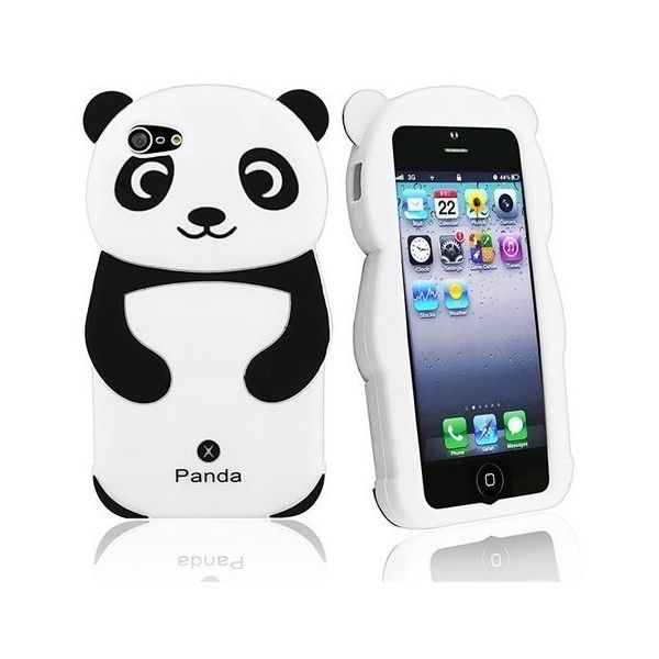 Leegoal(TM) Hot Pink/White Cute 3D Panda Silicone Rubber Soft Case... (4.25 CAD) ❤ liked on Polyvore featuring accessories, tech accessories and phone cases