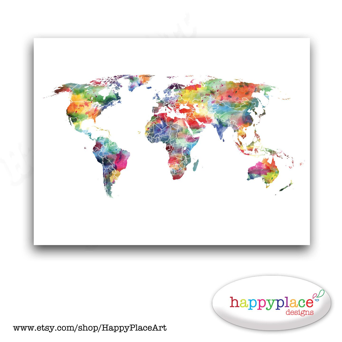 Rainbow color world map personalised map world map wall art large custom world map poster print or printable with watercolor texture choice of colours gumiabroncs Image collections