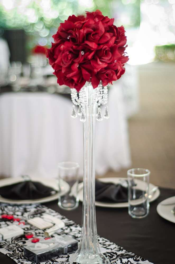 Black White Red Damask Wedding Party Ideas Water Centerpieces