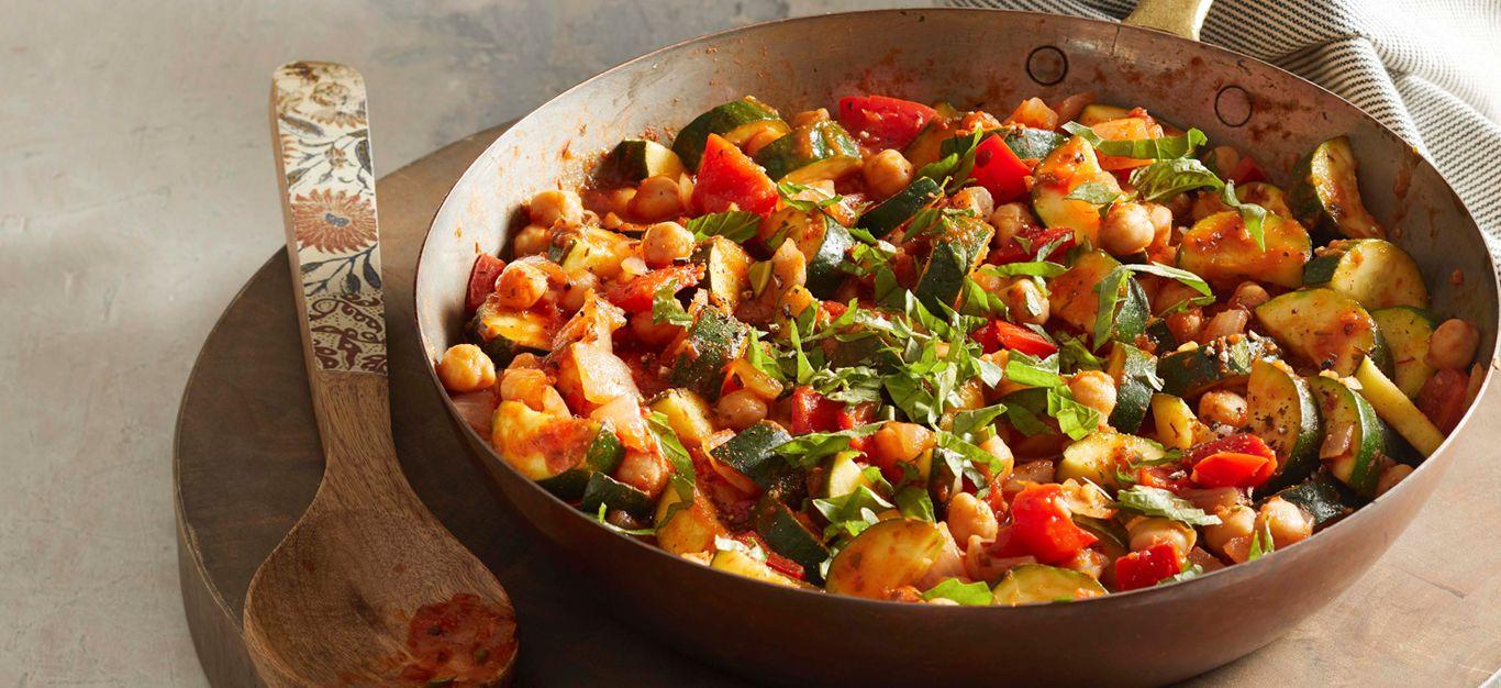 Zucchini And Chickpea Saute Recipe Vegan Zucchini Recipes Recipes Whole Food Recipes