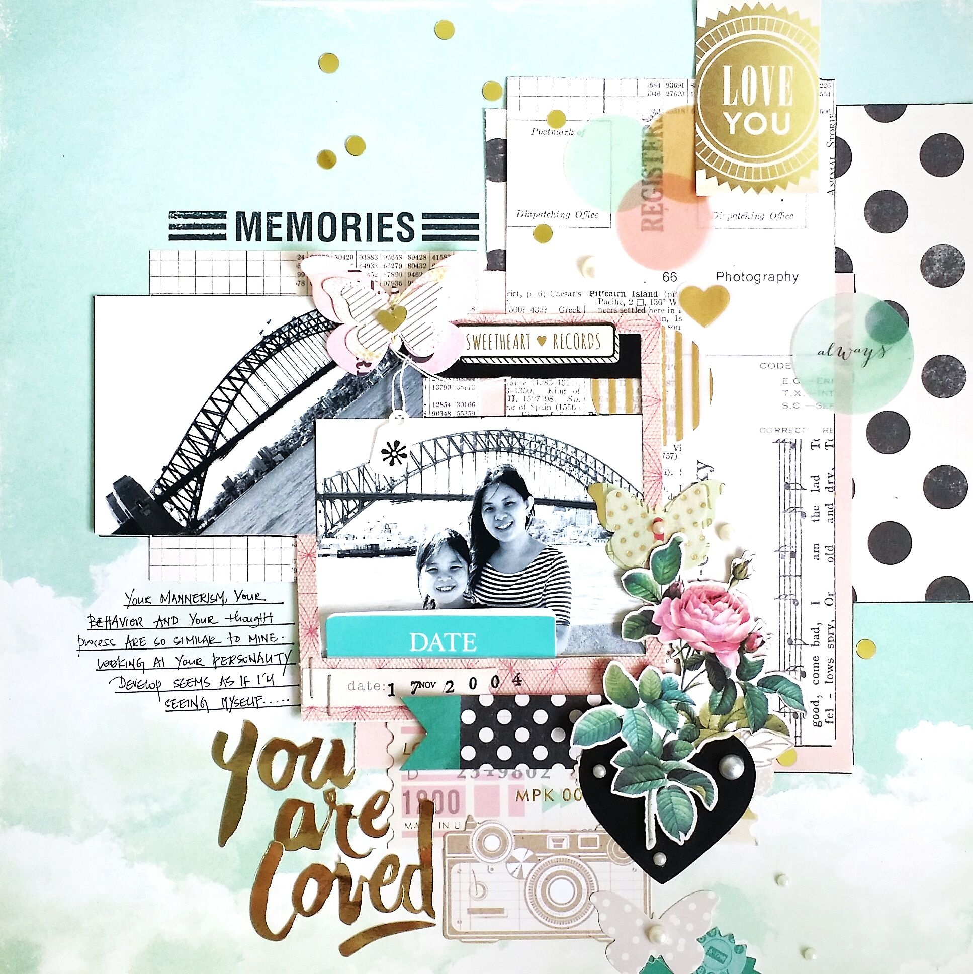 #papercraft #scrapbooking #layout - You are Loved - Crate Paper - Maggie Holmes Collection - Styleboard - 12 x 12 Double Sided Paper - Daydream + Crate Paper - Notes and Things Collection - Cardstock Stickers