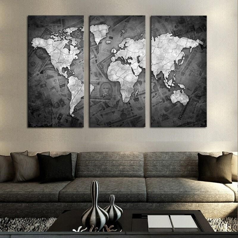 3 Panels World Map Wall Art Vintage Canvas Painting Black And White Print Poster Decorative Pictures For Living Room Study Room Map Canvas Art World Map Painting World Map Wall Art