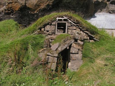 Ruin Of Traditional Icelandic House Turf Roof Built