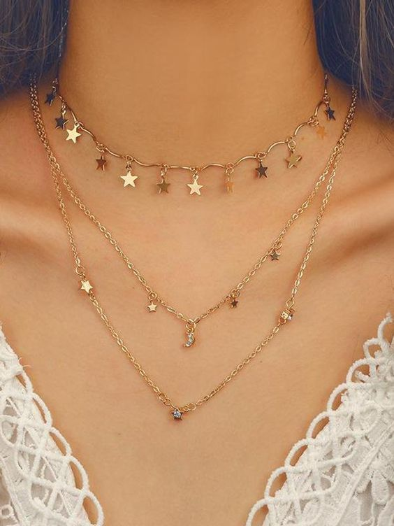 Geometric Crystal Stars Moon Clavicle Chain Three Layer Necklace #chain #clavicl…