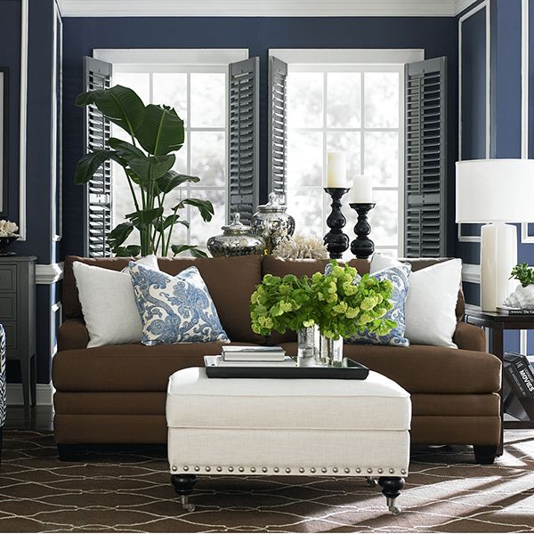 Third color to lighten up brown navy room coastal for Brown green and cream living room ideas