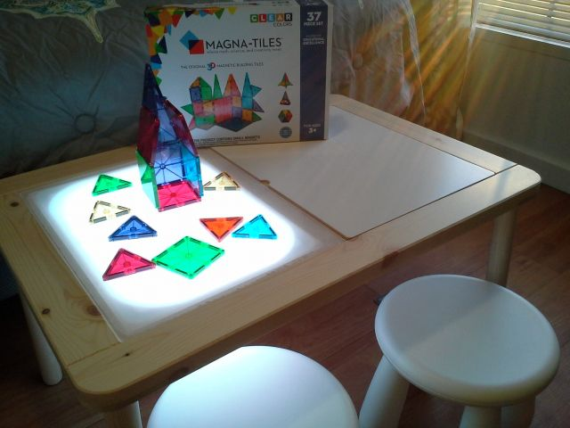 ikea hack diy light table sensory table montessori and reggio emilia. Black Bedroom Furniture Sets. Home Design Ideas