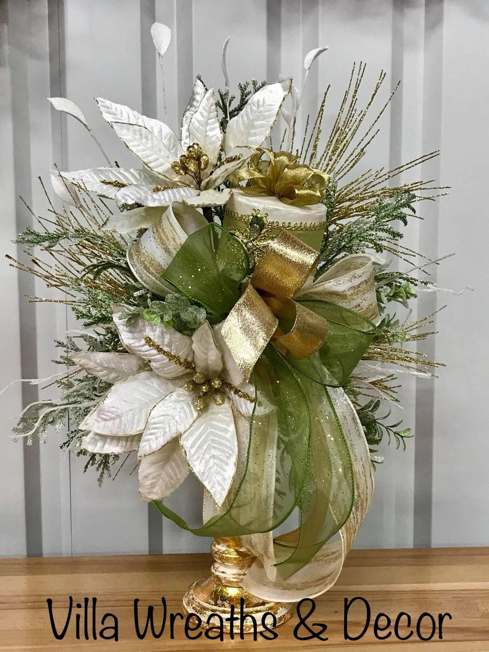 White Poinsettia And Sage Green Arrangements Poinsettia Centerpiece Christmas Centerpiece Elegant Centerpiece Poinsettia Centerpiece Christmas Centerpieces Christmas Flower Arrangements