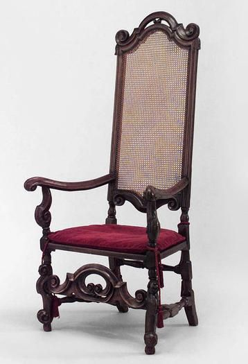 Set Of 8 English Jacobean Cent Walnut High Back Chairs With Cane Seat And Stretcher Red Cushion Arm 6 Side