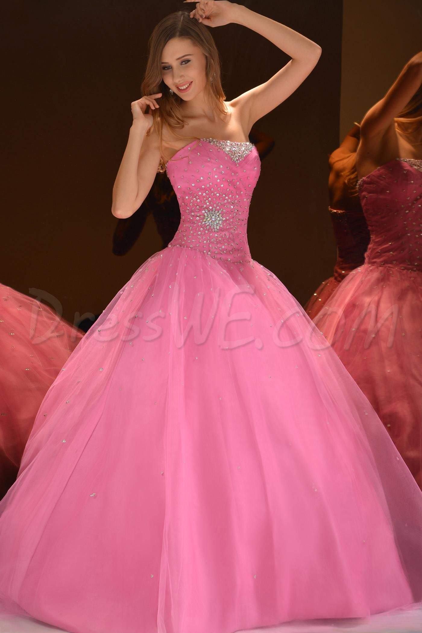 Brilliant Ball Gown Strapless Floor-Length Beading Quinceaner Dress ...
