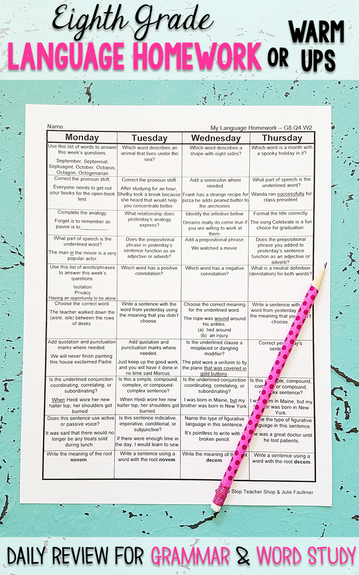 Eighth Grade Language homework or morning work that provides a daily review  for 8th Grade grammar and word wo…   8th grade writing [ 1152 x 720 Pixel ]