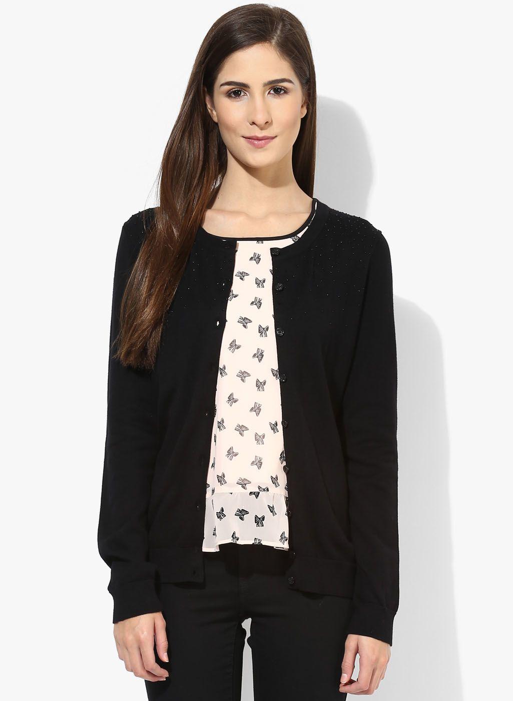 c34a16b10c Buy Tommy Hilfiger Black Embellished Sweater for Women Online India ...