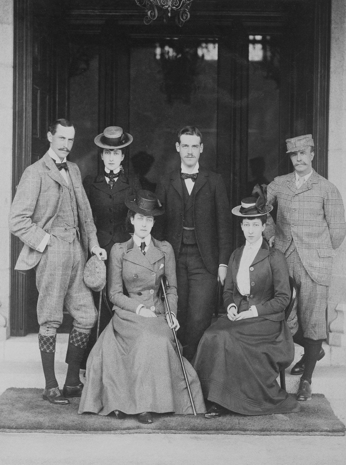 A vacation at Mar Lodge with Prince Carl of Denmark and his wife Maud; Princess Victoria of Wales; Grand Duke Michael of Russia; Princess Louise and her husband the Duke of Fife. 1898-1899.