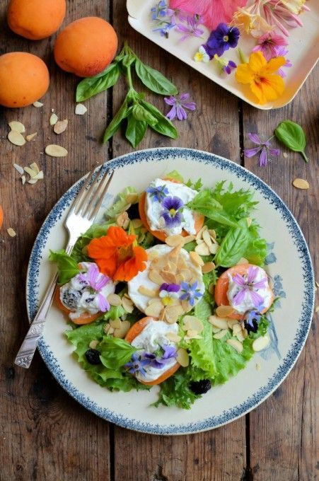 Lavender and Lovage | Provençal Stuffed Apricot and Goat's Cheese Salad with Edible Flowers | #pretty #beautiful #salad #recipe #lovage #apricot #edible #flowers #healthy #delicious